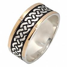 Серебряное кольцо с золотой вставкой Амира