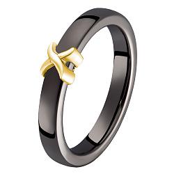 Кольцо в желтом золоте Исида с черной керамикой 000078718