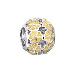 Срібний шарм з жовтою емаллю 000116374