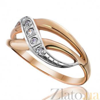 Золотое кольцо с фианитами Завитки EDM--КД0219