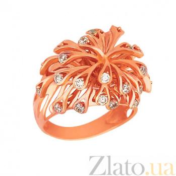 Кольцо из красного золота Коралловые рифы с фианитами VLT--Т171-2