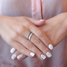 Золотое кольцо Контраст в белом цвете с черными и белыми фианитами