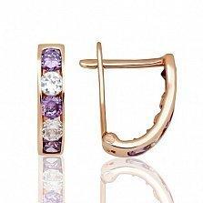 Золотые серьги Вдохновение с белыми и фиолетовыми фианитами