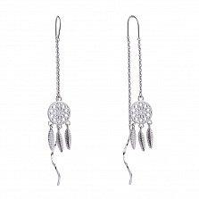 Серебряные серьги-протяжки Ловцы снов с родированной поверхностью