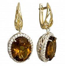 Серьги-подвески с кварцем и фианитами Нилуфер из серебра и золота