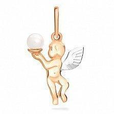 Золотой подвес Ангел с жемчужиной