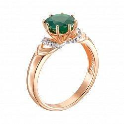 Золотое кольцо Мавка в комбинированном цвете с зеленым агатом и фианитами