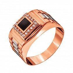 Золотой перстень-печатка в красном цвете с рельефной шинкой, эмалью и фианитами