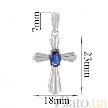 Серебряный крест с синим фианитом Амулет 3728р бел
