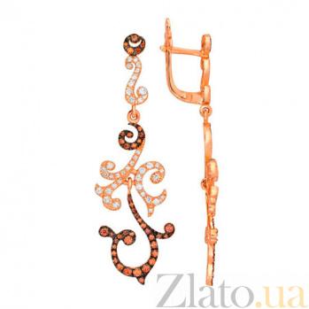 Серьги-подвески с белым и оранжевым цирконием Алисия VLT--ТТ2322-2