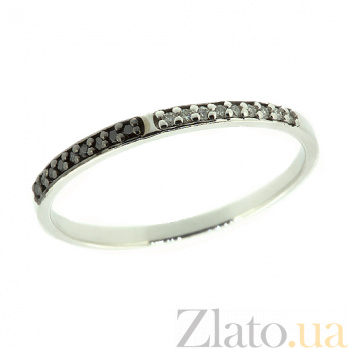 Золотое кольцо в белом цвете с чёрными и белыми бриллианиами Фил 000021384