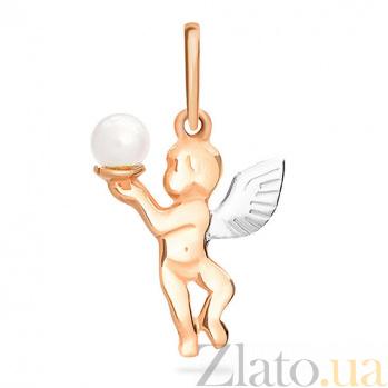 Золотой подвес Ангел с жемчужиной SUF--422294
