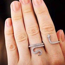 Серебряное кольцо на две фаланги Змейка с белыми и зелеными фианитами