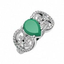 Серебряное кольцо Эмили с зеленым агатом и фианитами