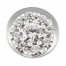 Серьги-пуссеты из белого золота с бриллиантами