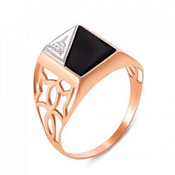Золотой перстень-печатка Дрезден в комбинированном цвете с черным ониксом и цирконием