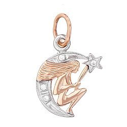 Золотой кулон знак Зодиака Дева на луне с фианитами 000013764
