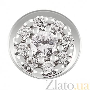 Серьги-пуссеты из белого золота с бриллиантами KBL--С2210/бел/брил