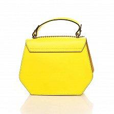 Кожаный клатч Genuine Leather 1733 цвета бешенный лимон с декоративными заклепками и короткой ручкой