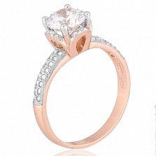 Позолоченное серебряное кольцо с фианитами Эмилия