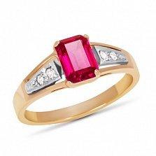 Золотое кольцо Тереза с синтезированным рубином и фианитами