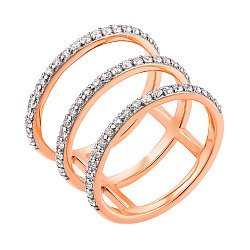 Кольцо из красного золота на всю фалангу с кристаллами циркония 000104461