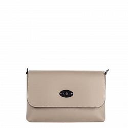 Кожаный клатч Genuine Leather 1021 цвета тауп с клапаном и металлической застежкой