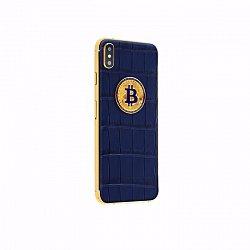 Apple IPhone XS Noblesse LUMINARY DARK BLUE Bitcoin в синей коже крокодила и золоте