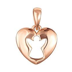Золотая подвеска Сердце с вырезной фигуркой ангела
