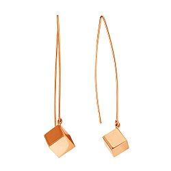 Золотые серьги-подвески Кубики в минималистичном стиле