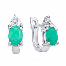 Серебряные серьги Рахми с зелеными кристаллами Swarovski и белыми фианитами