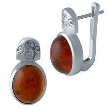 Серебряные серьги Хилини с янтарем и узорами