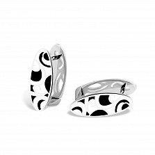Серебряные серьги Native с черной и белой эмалью