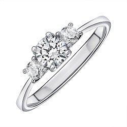 Кольцо из белого золота с фианитами Swarovski 000145541
