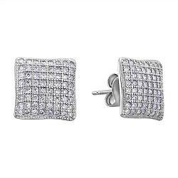 Серебряные серьги с фианитами 000132570