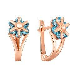 Золотые серьги Фабия с голубыми фианитами 000106010