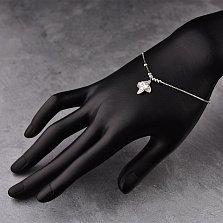 Серебряный браслет Мирабелла с фианитами, подвеской-цветком и подвижными бусинами