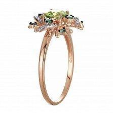 Золотое кольцо Весенняя надежда в красном цвете с хризолитом, изумрудами и бриллиантами