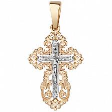 Золотой крестик Красота души в комбинированном цвете с фианитами