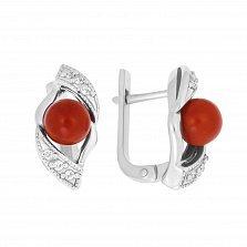 Серебряные серьги Агния с красными кораллами и фианитами