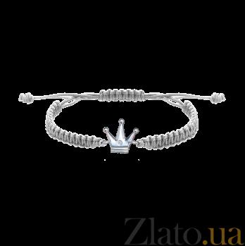 Детский плетеный браслет Волшебная страна с серебряной вставкой и фианитом, 10х20см 000080664
