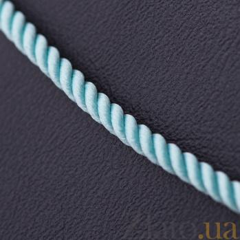 Крученый шелковый шнурок Сироук в голубом цвете с золотой застежкой, Ø2мм 000097263