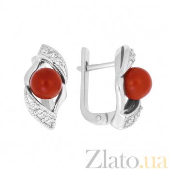 Серебряные серьги Агния с красными кораллами и фианитами 000096196