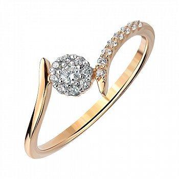 Золоте кільце в комбінованому кольорі з фіанітами 000141410