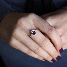 Серебряное кольцо с аметистом и фианитами Забвение