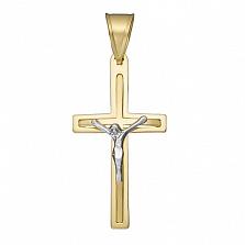 Крестик Радушие в желтом и белом золоте