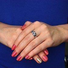 Серебряное кольцо Колосок с сапфирами и бриллиантами