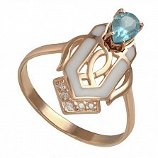 Кольцо в красном золоте Джудит с голубым топазом, эмалью и фианитами