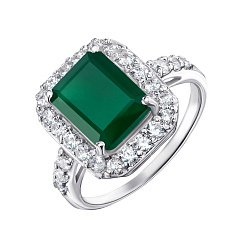 Серебряное кольцо с зеленым агатом и фианитами 000127148