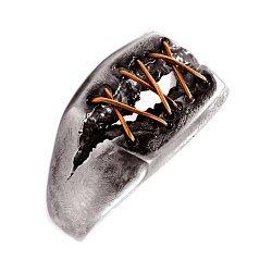 Кольцо из серебра Dr. Lecter с золотыми вставками и чернением 000091355